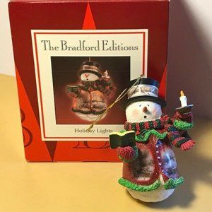 Thomas Kinkade Christmas snowman ornament nib box